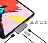 USB C HUB Adapter for iPad Pro 11/12.9 2019/2018,USB C to HDMI Dongle,3.5mm Earphone Headphone Jack with Volume Control,USB3.0,Type C PD Charging Dock