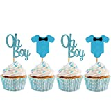 Baby Shower Cupcake Toppers for Boy, Blue Baby Jumpsuits Cake Cupcake...