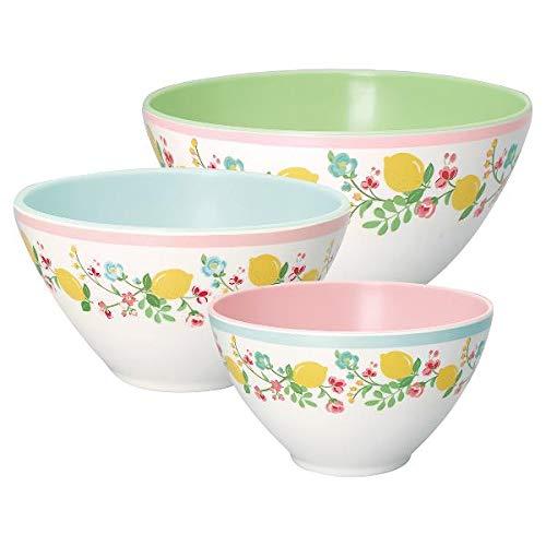 GreenGate- 3 er Set Salatschüsseln aus Melamin- Limona White Set of 3