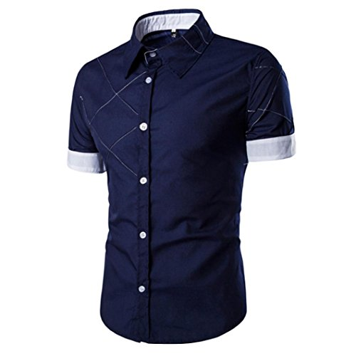 PHOTNO Fashion Men Boy Summer Slim Fit Short Sleeve Dress Shirt Casual Cotton T Shirt (M, White)