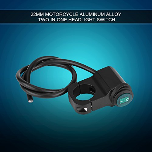 Aluminiumlegering motorfietsschakelaar, 12 V universeel 22 mm waterdicht motorstuur aan/uit schakelaar motorfiets koplamp mistlampen lichtschakelaar