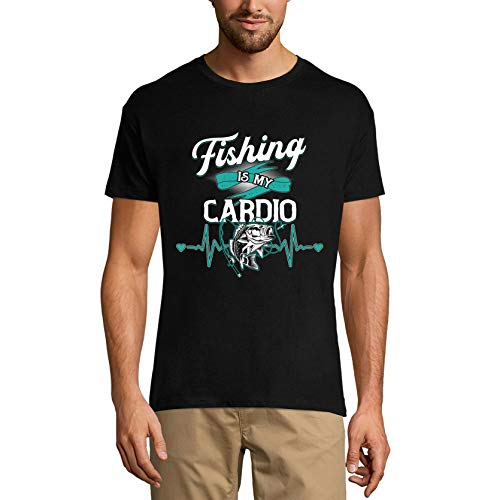 Ultrabasic Camiseta de pescador divertida para hombre Fishing is My Cardio - negro - X-Small