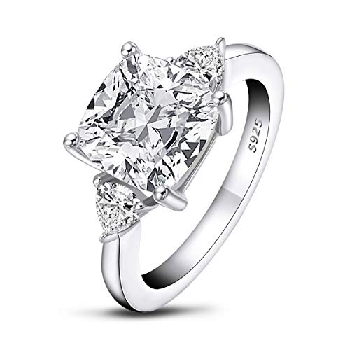 AINUOSHI 5.5 Carats Cushion Cut 925 Sterling Silver Sona Diamond Cubic Zirconia CZ 3 Stone Engagement Wedding Ring(5)