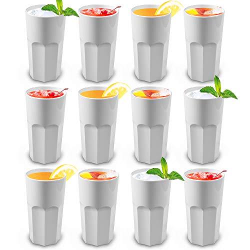 RB Vasos Retro Blanco Plástico Premium Irrompible Reutilizable 30cl, Set de 12