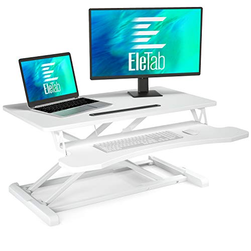 EleTab Standing Desk Converter Sit Stand Desk Riser Stand up Desk Tabletop Workstation fits Dual Monitor 32 inches White