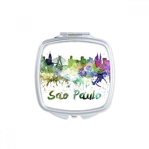 DIYthinker Sao Paula Brasilien Land Stadt Aquarell Illustration Platz Compact Make-up Taschenspiegel Tragbare nette kleine Hand Spiegel Geschenk Mehrfarbig