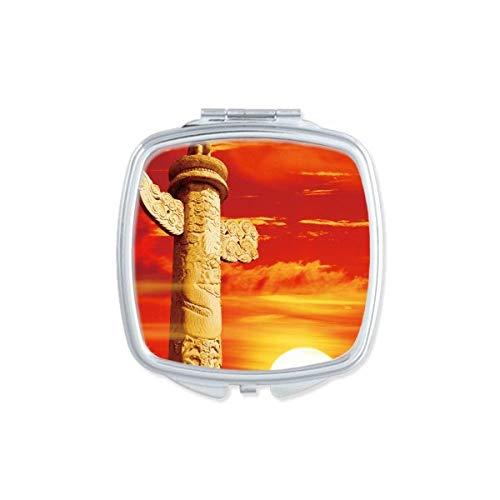 DIYthinker Red Sun Sky Ornamental Columna Cuadrada de China Regalo Portable Linda Espejos de Bolsillo Mano Maquillaje Compacto Espejo