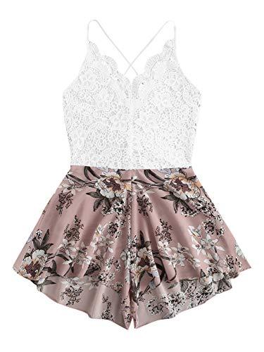 SheIn Women's Boho Crochet V Neck Halter Backless Floral Lace Romper Jumpsuit Small Pink Floral#3