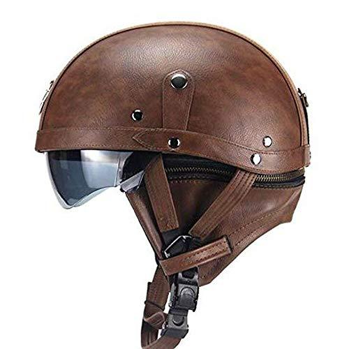 Mangen Lederhalbhelm Motorrad Halbhelme Helm Motorradhelm Vintage Cruiser Roller Touren Sonnenschutz mit Brille (Dunkelbraun)