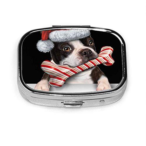 Der schöne Hund trägt eine Weihnachtsmütze Fashion Square Pill Box Vitamin Medizin Tablettenhalter Wallet Organizer Case