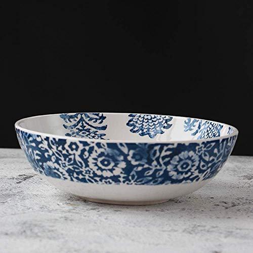 XUSHEN-HU Vajilla de cerámica Plato Hondo Azul Simple Elemento Floral diseño de Accesorios del Plato Profundo de la Familia Cocina