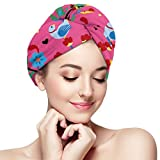 Tarjeta de bordado de flores The Arts Mexican Hair Towel Wrap Turbante Microfibra Secadora de cabello 28 x 11 pulgadas / 71 x 28 cm