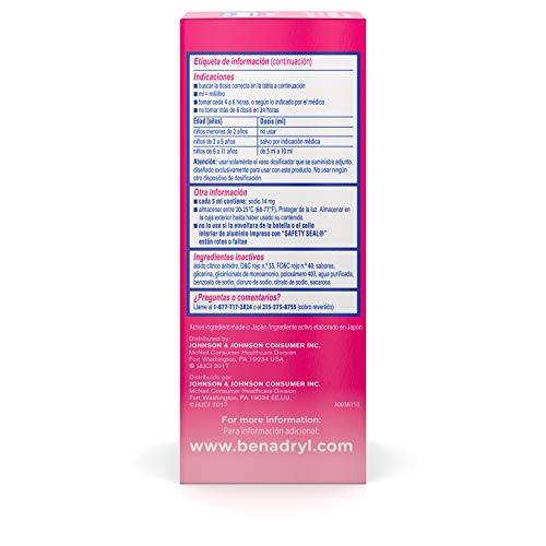 Children's Benadryl Allergy Liquid Medicine with Diphenhydramine HCl, Cherry, 4 fl. oz