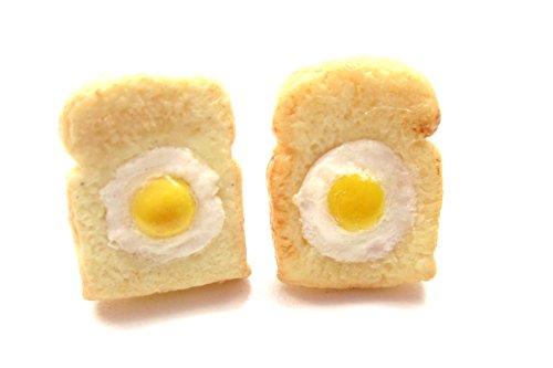 Toast mit Ei Ohrstecker Frühstück Brot Modeschmuck Ohrringe