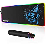 Anime Dragon Mouse Pad RGB Gaming Mousepad Mat LED with 15 Lighting Modes for Computer 31.5 X 12 Inch (Blue)