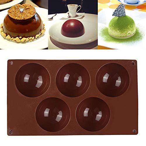 N/Y Molde de silicona para tartas, 5 agujeros, molde de silicona para magdalenas, chocolate, jalea, pudín y muffin