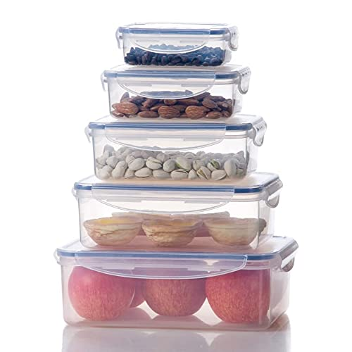 Bellaware Plastic Food Storage Containers, Big Size Airtight Containers Set of 5
