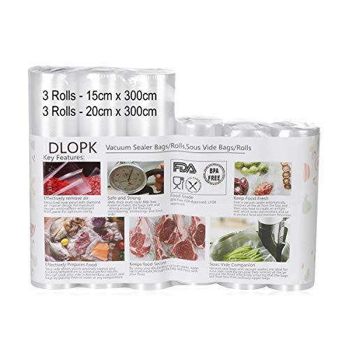 Bolsas de Vacío 6 Rollos 15x300cm y 20x300cm Bolsas Profesional para la Conservación,Sous Vide Cocina, Certificación de seguridad de grado alimenticio