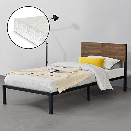 [en.casa] Metallsäng med madrass 90 x 200 cm Lausanne ungdomssäng med kall skummadrass enkelsäng stålsäng svart valnöt utseende