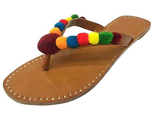 Step n Style Damen-Sandalen im Ethno-Stil, mit Perlen besetzt, Bommel, ethnisch, indisch, Jutti, Beige (beige), 41 EU