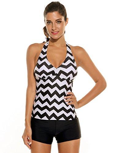 Ekouaer Women Halter Padded Striped Tankini Swimsuit Swimwear With Boyshort Bikini...