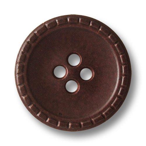 Knopfparadies - 8er Set rotbraun melierte Vierloch Kunststoffknöpfe in Leder Optik mit verziertem Rand wie Steppnaht / Rotbraun Meliert / Kunststoff Knöpfe / Ø ca. 23mm