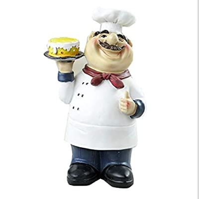 Homodic French Chef Figurine Cook Chef Collectible Statues with 4 Various Shape for Counter Top Restaurant Cafe