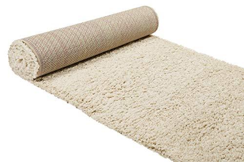 Wecon home, Moderner Hochflor Teppich - Läufer im Berber Style für Wohnzimmer, Flur, Schlafzimmer Studio Zero (80 x 300 cm, Creme beige)
