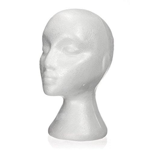 SODIAL(R) 27.5*52cm Manequi / Maniqui de cabeza Mujer de Espuma(Poliestireno) Expositor para gorro,auriculares, accesorios de pelo y pelucas Foam Mannequin Woman