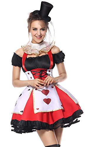 Lusiya Women's Queen of Hearts Halloween Party Costume Dress Set Medium