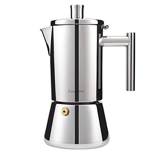 ZHHAOXINPA Draagbare 200ml/4 Cup Draagbare Espresso Koffiezet Moka Pot roestvrij staal met elektrische kachel Filter Percolator Koffie Brewer Ketel Pot voor Mannen Vrouwen