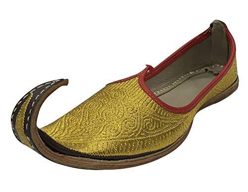 Handgefertigte Aladdin-Herrenschuhe, indische Schuhe, Gold, Khussa-Leder, Punjabi-Jutti-Schuhe, (goldfarben), 42 EU