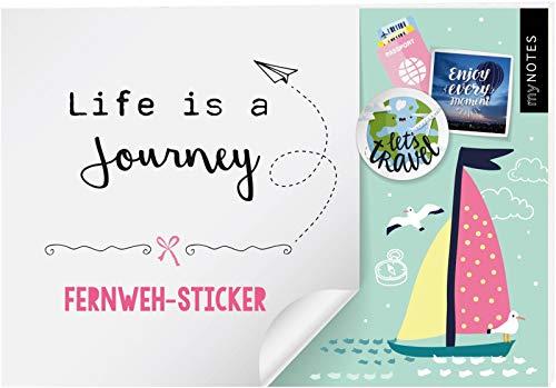 myNOTES Life is a Journey - Stickerheft mit Reise- und Fernweh-Stickern: Bunte Sticker für Kalender, Bullet Journal oder Reisetagebuch