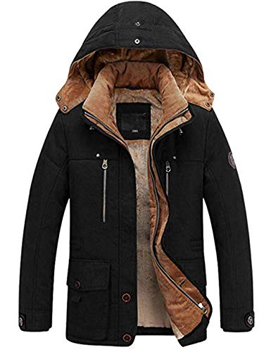 Lentta Men's Military Parka Jacket Winter Warm Fleece Lined Coat with Removable Hood (Large, Black)