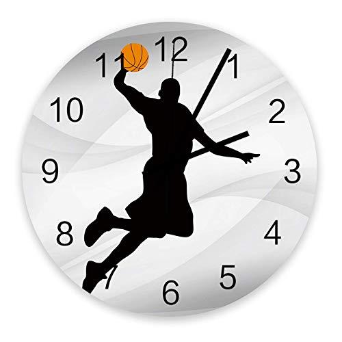 Reloj de Pared Redondo de Madera de 10 ', silencioso, Funciona con Pilas, sin tictac, Deportes de Baloncesto, silencioso, Oficina, Cocina, Dormitorio, Reloj de Pared, decoración del hogar, Slam Dunk,