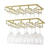 Weinglashalter Gläserhalter, Stielgläser Aufbewahrung Aufhängen Halter Weinregale unter Schrank, Metall Weinglashalterung für Bar Küche Keller (Gold 4 Reihen 2Pack)