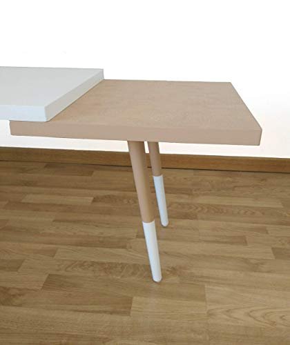 Mesa de centro, rectangular, blanca y marrón, estilo nórdico.