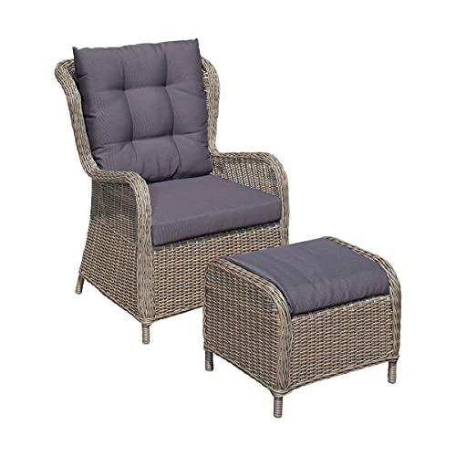 Green Spirit - Garten-Sessel mit Hocker Stavanger - Braun-Grau, Polyrattan, Wetterfest - Garten-Stuhl Set mit Sessel, Hocker