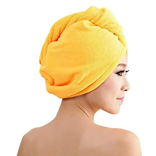 MAWA Toalla de baño de Microfibra Secado de Cabello Secado rápido Toalla de baño para Dama Ducha Suave para Mujer Hombre Turbante Abrigo para la Cabeza Herramientas de baño - Amarillo