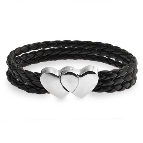 Bling Jewelry Verriegelung Herzen Verschluss Schwarz DREI Strand Woven Geflochtenes Leder Armband Für Damen Aus Rostfreiem Stahl