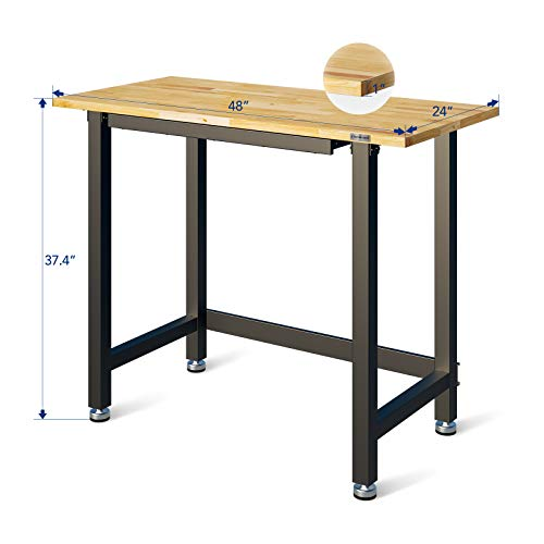 """FLEXIMOUNTS Work bench with Built-In Organizer Drawer, 48"""" x 24"""" Workstation, 3000-lb Capacity Garage WorkBench, Rubber Wood Work Table Top Heavy-Duty Steel Frame"""