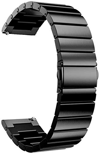 JJDSN Correas de Reloj 18 mm 22 mm 20 mm 24 mm Correa de Banda para Reloj 42 46 mm Gear S3 Active2 Band Acero Inoxidable