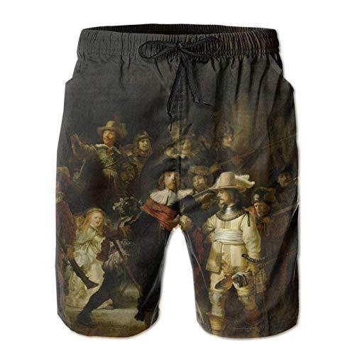 MayBlosom Pantalones cortos de natación de secado rápido para hombre, para entrenamiento al aire libre, el reloj de noche Rembrandt