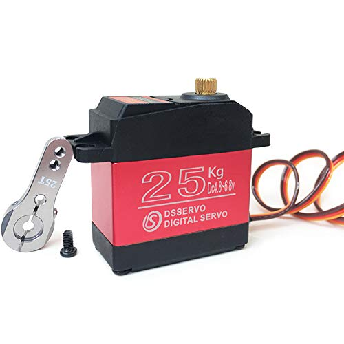 ANNIMOS 25kg RC Digital Servo Large Torque High Speed Full Metal Gear Waterproof 180 Degree Control Angle Red