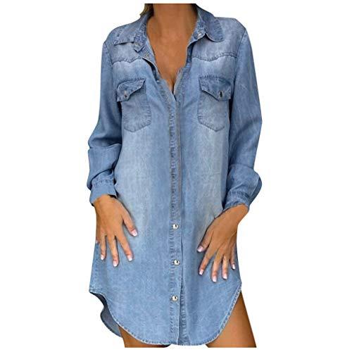 KIMODO Jeanskleid Sommerkleid Damen Casual Lose Partykleider Kurzarm T-Shirt Turndown Neck Denim Elegant Boho Blumen Strand Kleider mit Taschen (Blau-C, 3XL)