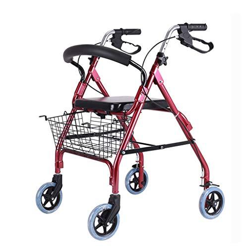 CHenXy Walker Aluminiumlegierung Mit Handbremse, Mit Sitz Mit Korb Faltbar, Rot, Geeignet for ältere Menschen medizinische Walker (Color : Red)