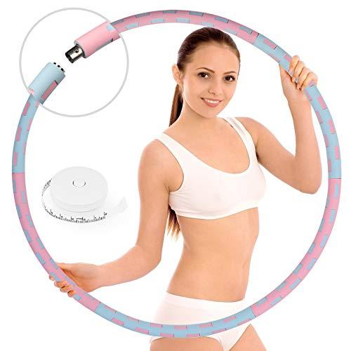 HASAGEI Fitness Exercise Hoop, Hula Hoop Reifen Erwachsene zur Gewichtsreduktion und Massage, Stabiler Edelstahlkern und 6 Segmente Abnehmbarer Reifen, zur Fitness Sport Zuhause, mit Bandmaß