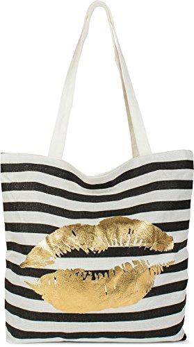 styleBREAKER kleine Strandtasche mit Streifen und Gold Kussmund und Reißverschluss, Shopper, Einkaufstasche, Stofftasche, Tasche, Damen 02012224, Farbe:Schwarz-Weiß/Gold