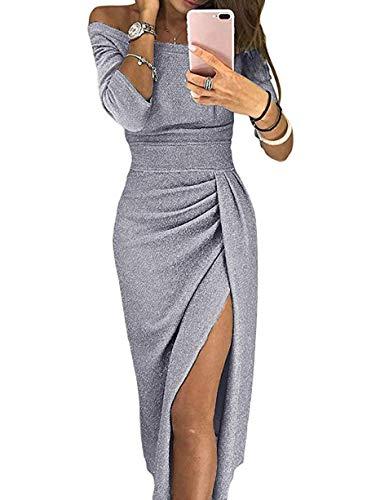 ONine Off Shoulder Bodycon Dresses for Women Ruched