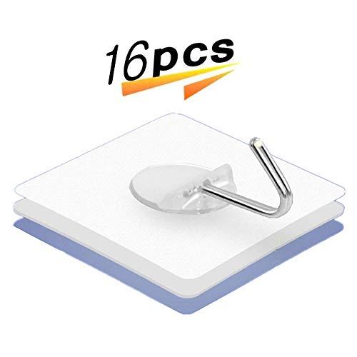 3 M ganchos adhesivos sin clavo 10 kg Max ganchos de pared transparente ganchos resistentes para cocina percha baño puerta techo (juego de 16)